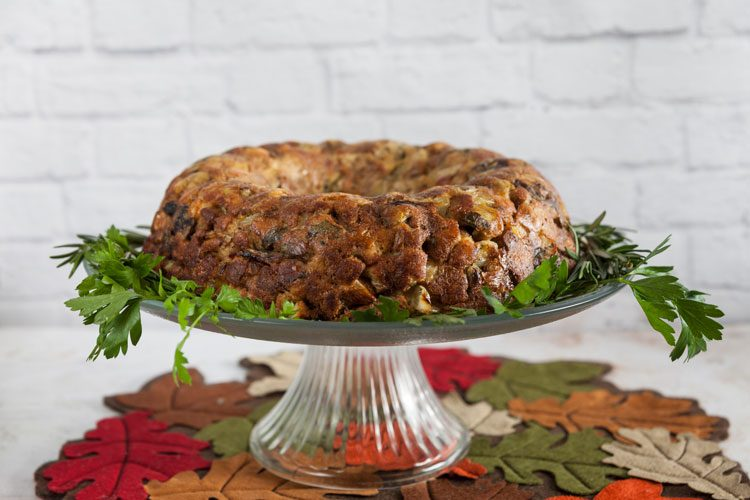 Mushroom and Leek Stuffing Cake with Jones Bacon