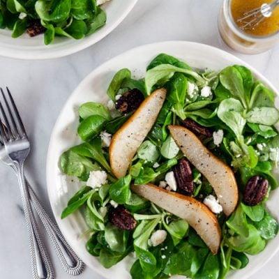 Winter Salad with Roast Pears and Vanilla Vinaigrette