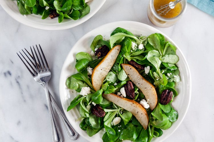 Winter Salad with Roast Pears, Spiced Nuts, and Vanilla Vinaigrette