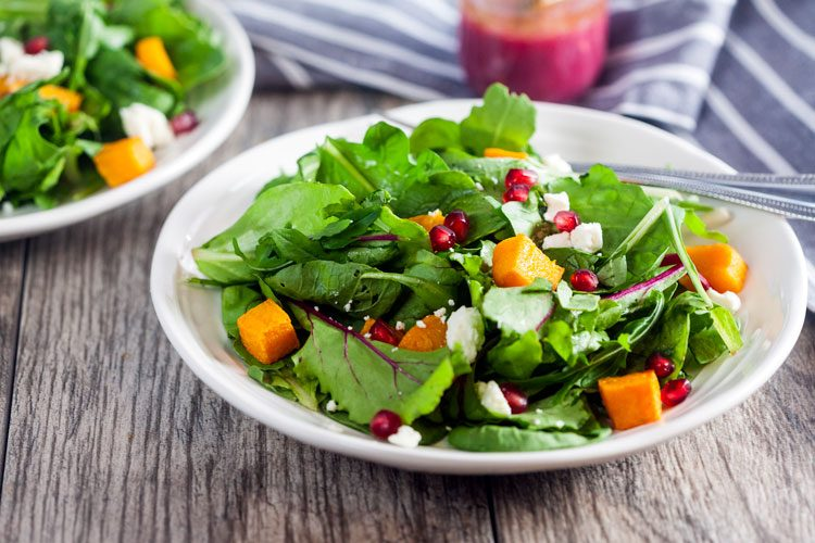 Roasted Butternut and Pomegranate Salad with Pomegranate Vinaigrette