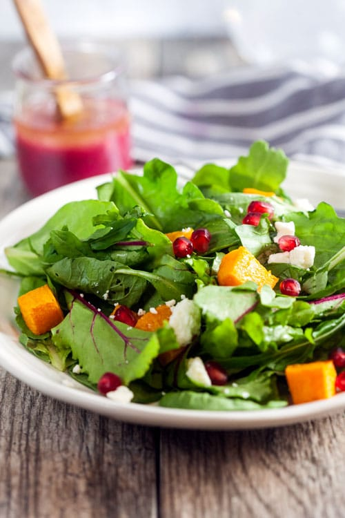 Pomegranate + Roasted Butternut Squash Salad with Pomegranate Vinaigrette