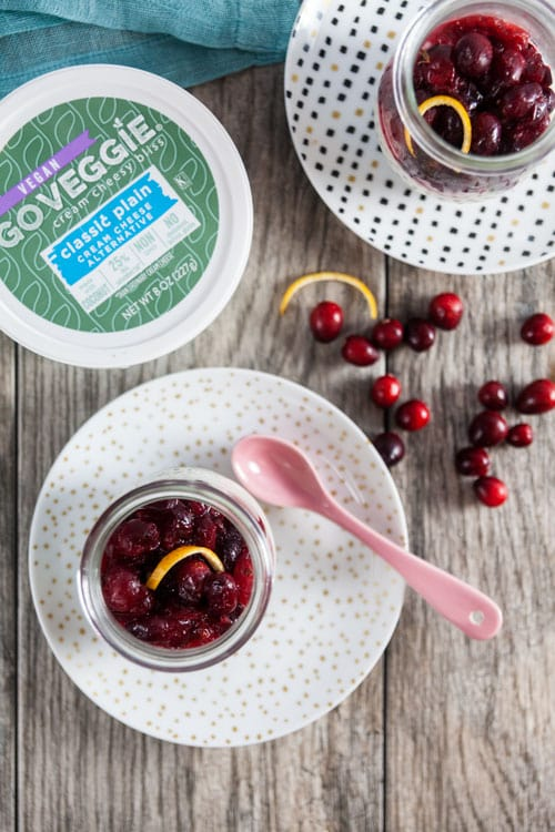 Dairy Free Cranberry Cheesecake Parfaits – Sweet, creamy vanilla bean cheesecake topped with maple -sweetened cranberries and a hint of cinnamon and orange zest . Perfect for the holidays.