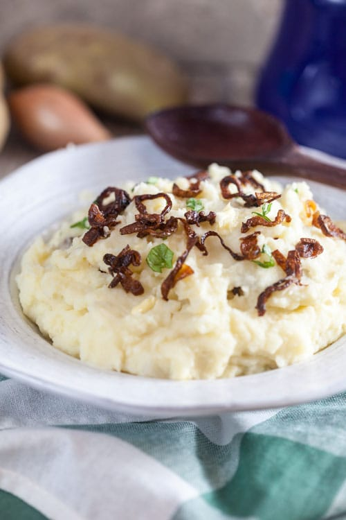 Horseradish Mashed Potatoes with Crispy Shallots