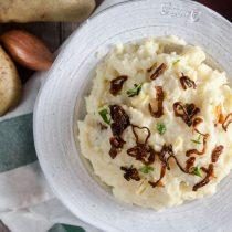 Horseradish Mashed Potatoes with Crispy Shallots