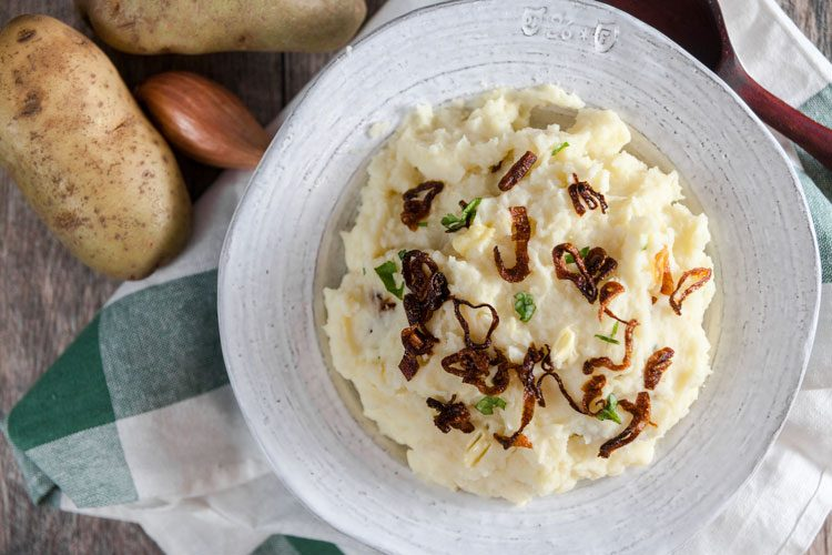 Horseradish Mashed Potatoes with Crispy Shallots | Recipe