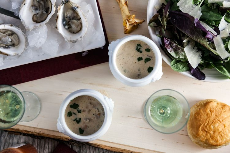 Dairy Free Oyster and Mushroom Stew made with Cashew Cream