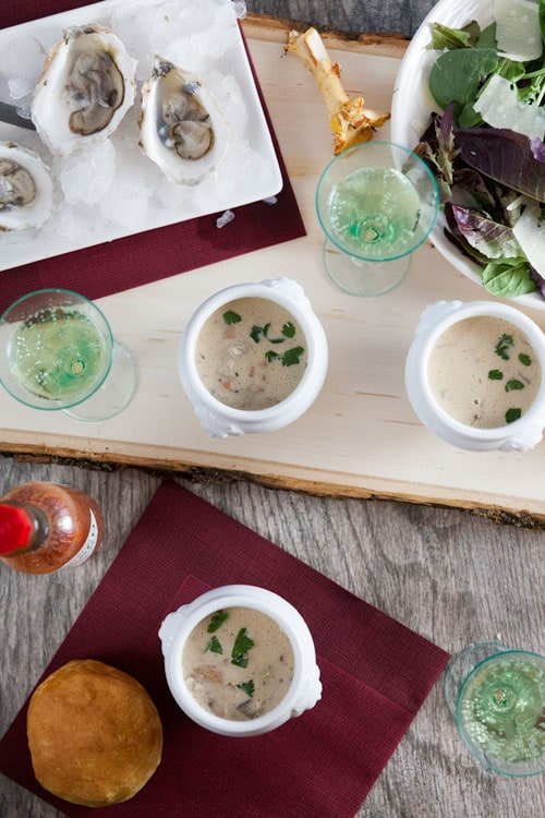 Dairy Free Oyster and Wild Mushroom Stew made with Cashew Cream
