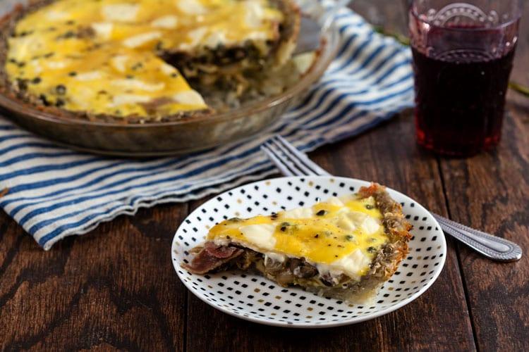 """""""Raceltte"""" Quiche – Salani and Swiss Quiche with Potato Crust"""