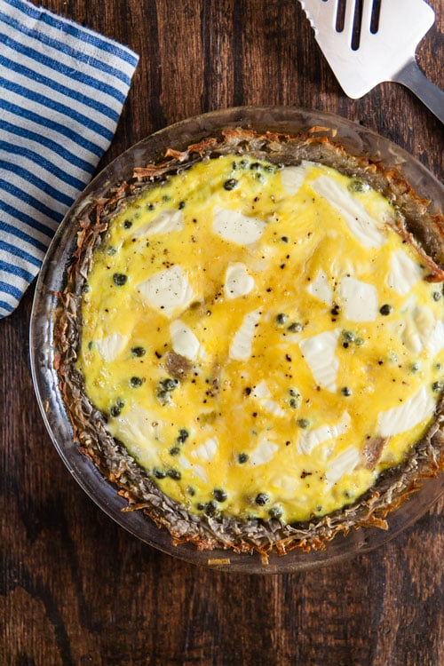 """""""Raceltte"""" Quiche – Salami and Swiss Quiche with Potato Crust"""
