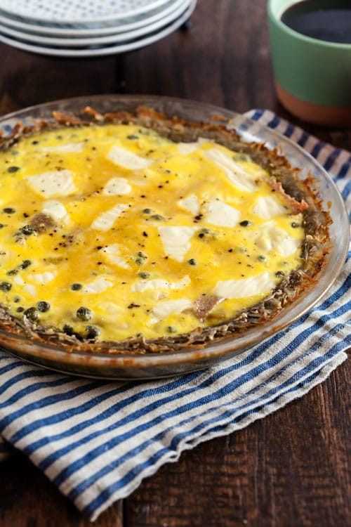 """Raceltte"" Quiche – Salami and Swiss Quiche with Potato Crust"