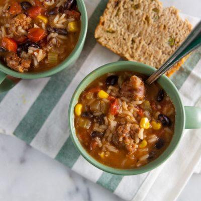 Southwest Chorizo and Rice Soup
