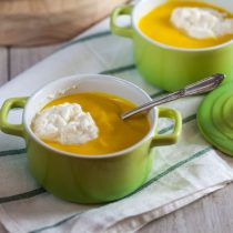 Btternut Squash Bisque with Maple Whipped Cream