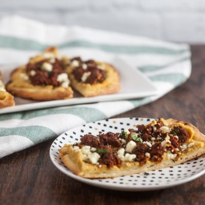 Merguez and Hummus Flatbreads