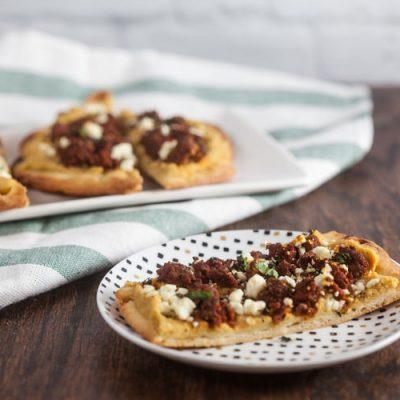 Merguez and Hummus Flatbreads