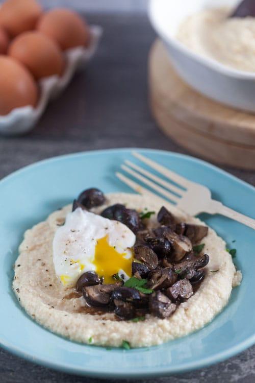 Almond Meal Polenta with Roast Mushrooms
