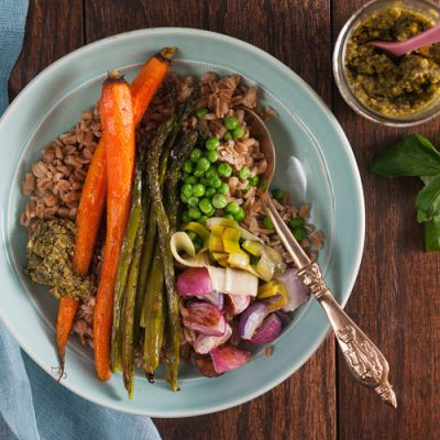 Roasted Spring Vegetable Grain Bowls with Pistachio Pesto