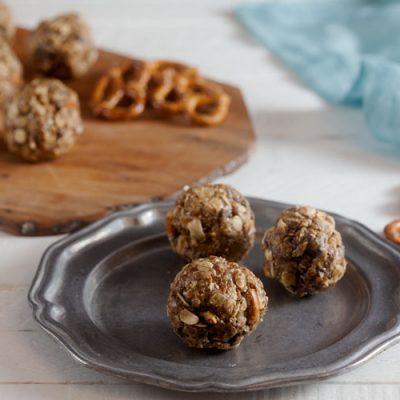 Peanut Butter, Pretzel, Chocolate Chip Energy Bites