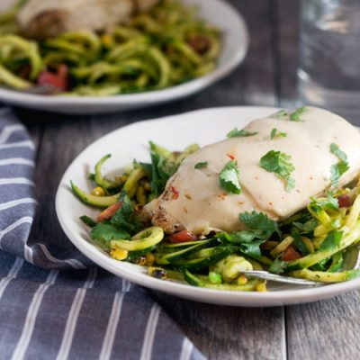 Pepper Jack Smothered Chicken with Southwest Zoodles