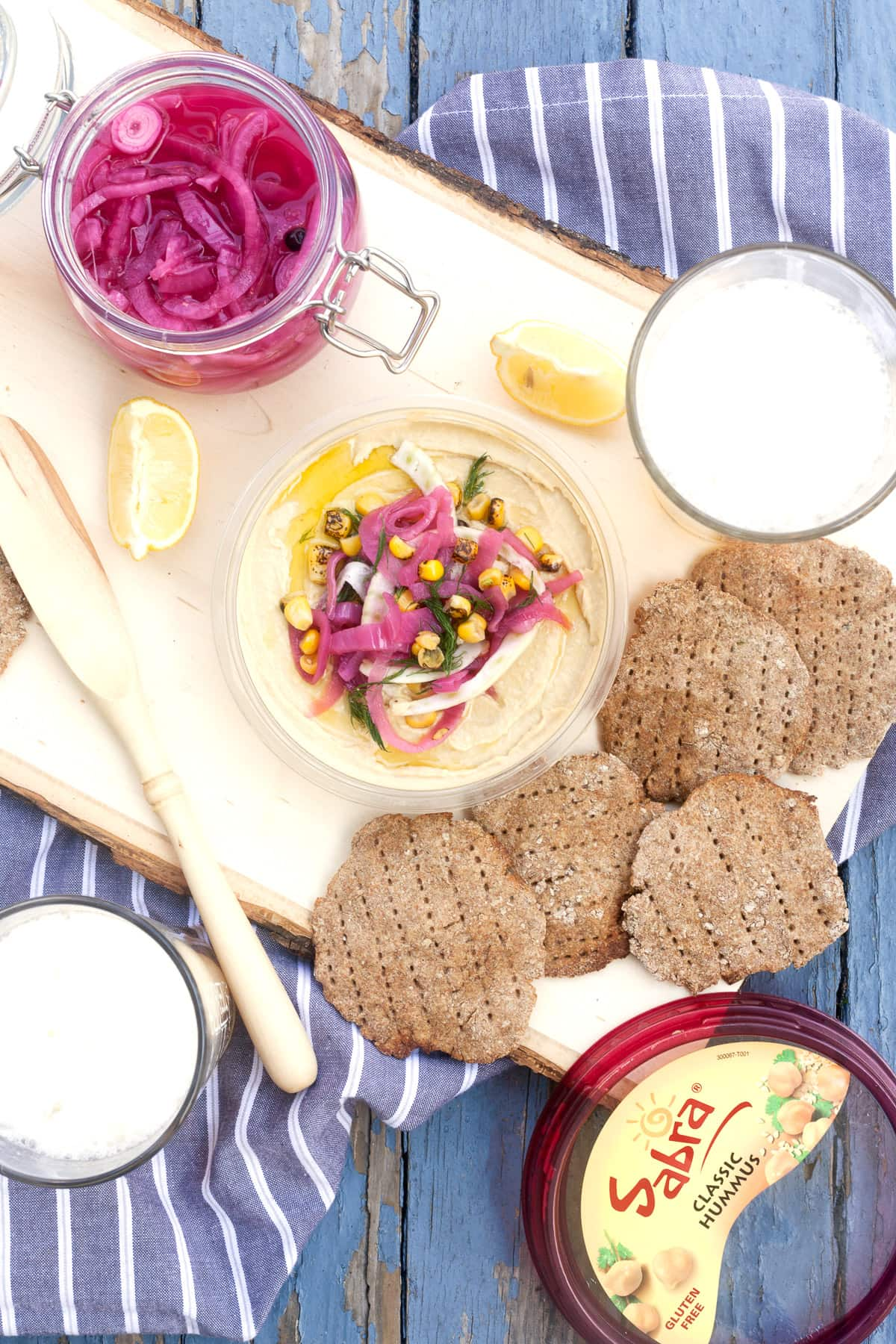 Homemade Beer-Rye Crackers and Pickled Red Onion Hummus Plate