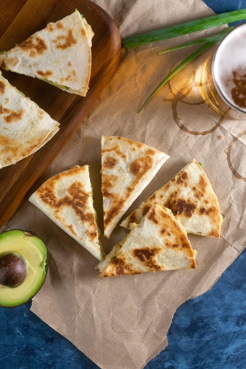 Shrimp, Avocado, and Hummus Quesadilla