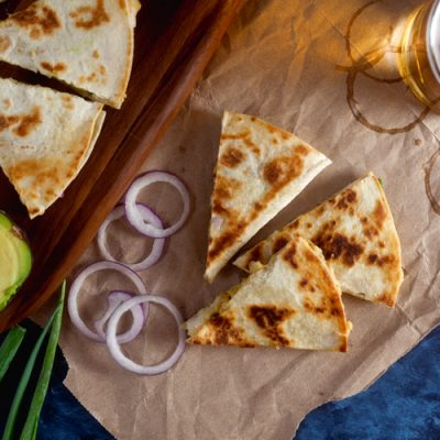 Shrimp, Avocado and Hummus Quesadillas