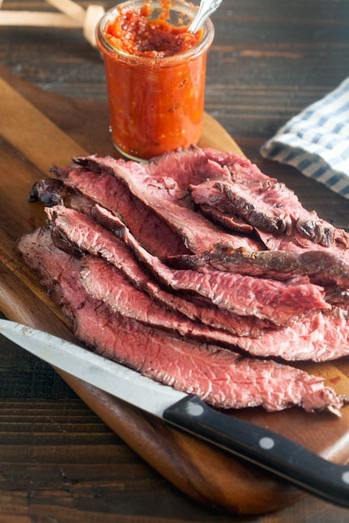 Coffee-Rubbed Hangar Steak with Smokey Vanilla-Tomato Relish