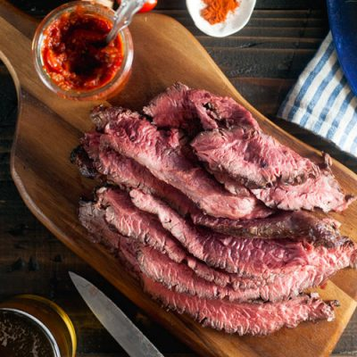 Coffee-Rubbed Hanger Steak with Smokey Vanilla-Tomato Relish