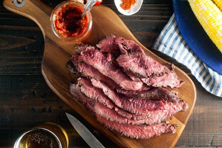 Coffee-Rubbed Hanger Steak with Smokey Vanilla-Tomato Relish