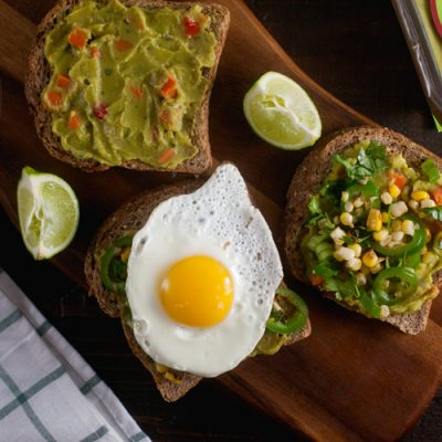 Roasted Corn and Jalapeño Guacamole Toast