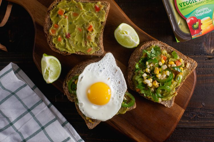 Roasted Corn and Jalapeno Guacamole Toast