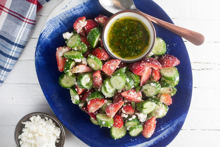 Strawberry Cucumber Salad with Feta and Mint - Healthy. Delicious.