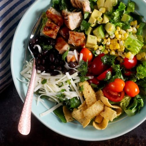 Southwest Barbecue Chicken Salad with Cilantro Lime Dressing