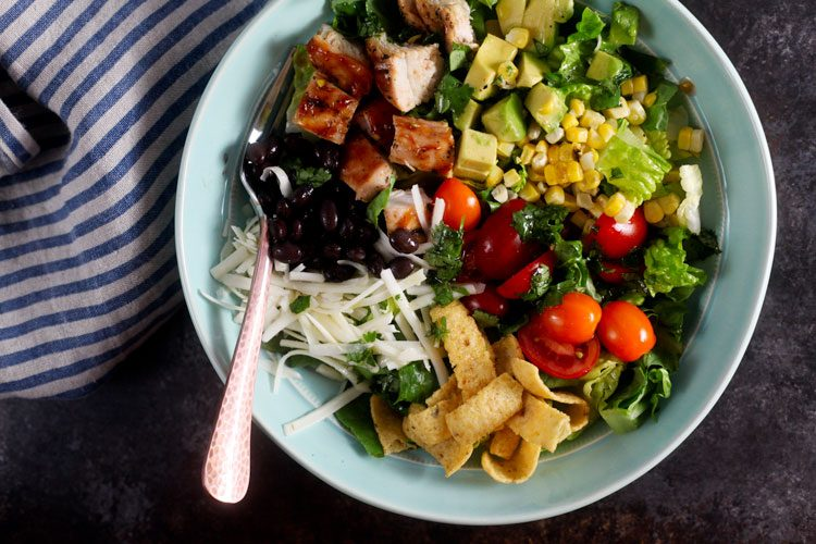 Southwest Barbecue Chicken Salad with Cilantro Lime Dressing - Healthy ...