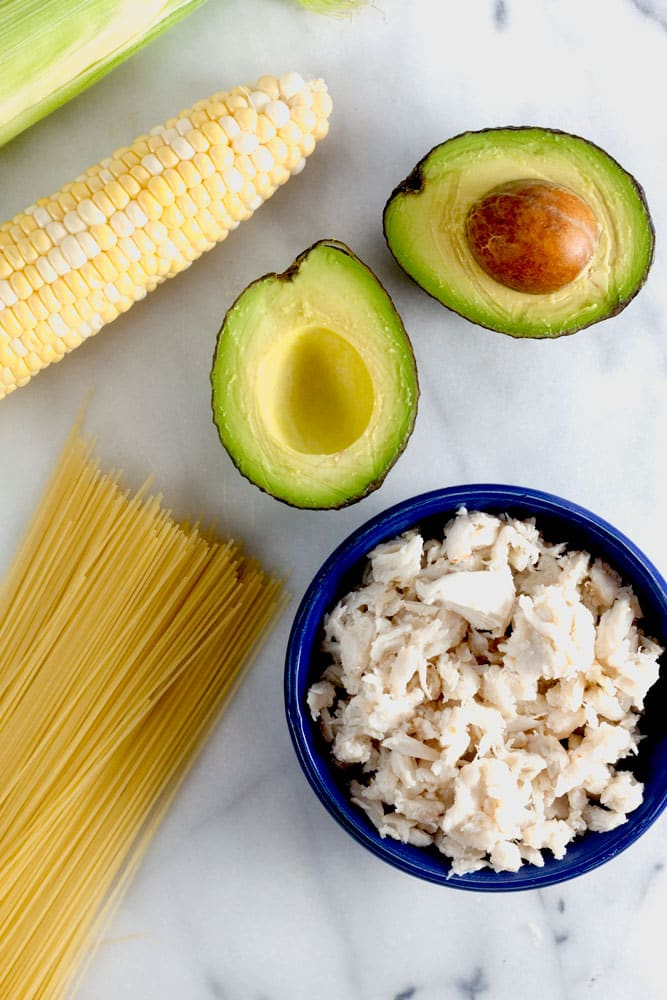 5-ingredient crab and corn pasta with avocado-dill sauce is a simple and delicious meal made for laid back, late-summer nights.