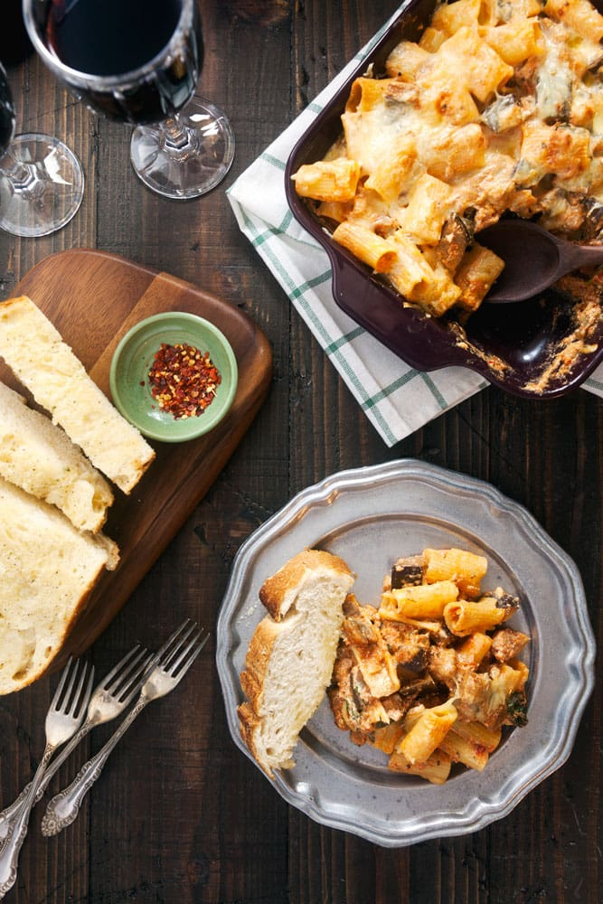 Baked Rigatoni with Eggplant and Sausage - Baked ziti gets a healthier makeover with this recipe!