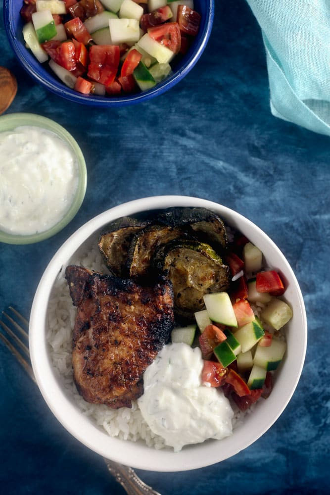Grilled Greek Chicken Rice Bowl Recipe