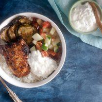 Grilled Greek Chicken Rice Bowl Recipe