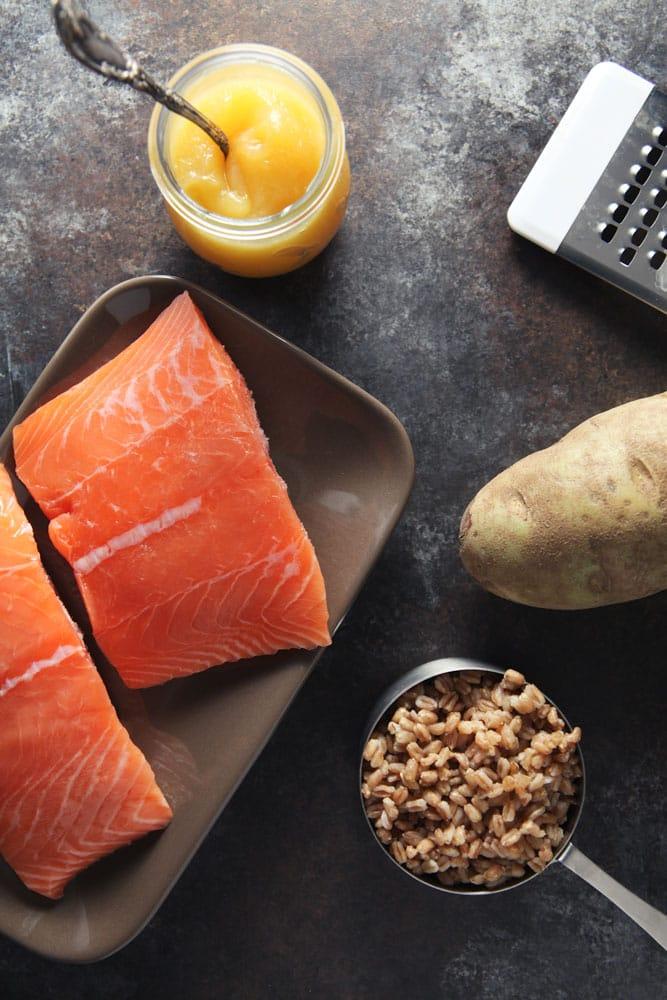5-Ingredient Lemon Curd Salmon with Potato-Farro Rosti Recipe