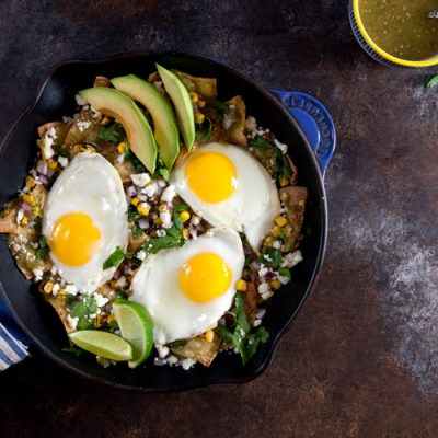 Baked Chilaquiles Verdes with Tomatillo Salsa