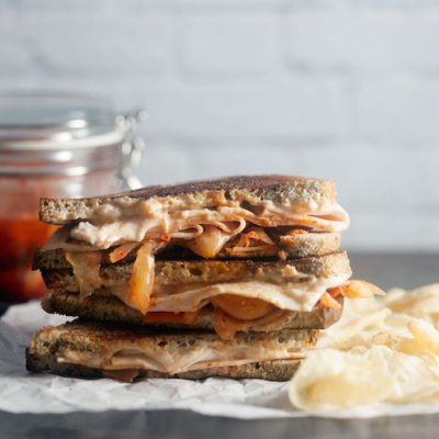 Grilled Turkey and Kimchi Melt with Sriracha Cream Cheese