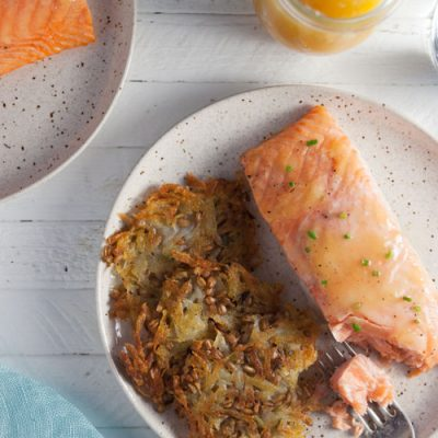 Lemon Curd Salmon with Potato-Farro Rosti