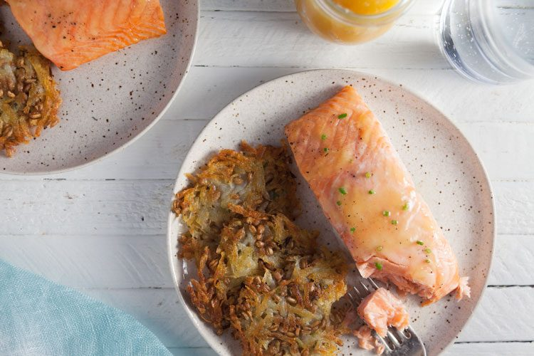 5-Ingredient Lemon Curd Salmon with Potato-Farro Rosti Recipe