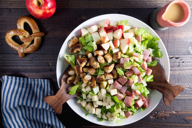 Fall Harvest Salad with Pretzel Croutons and Honey Mustard Dressing