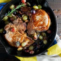 Recipe for Pan Roast Pork Chops with Grapes