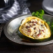 Acorn Squash Risotto with Parmesan, Pomegranate, and Arugula Recipe