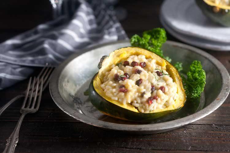 Acorn Squash Risotto with Parmesan, Pomegranate, and Arugula Recipe