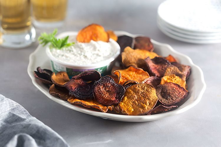 Recipe for Baked Sweet Potato and Beet Chips with Horseradish Dip
