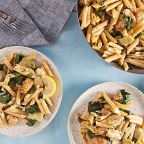 One Pan Cajun Chicken Penne with Artichokes and Lemon // Recipe