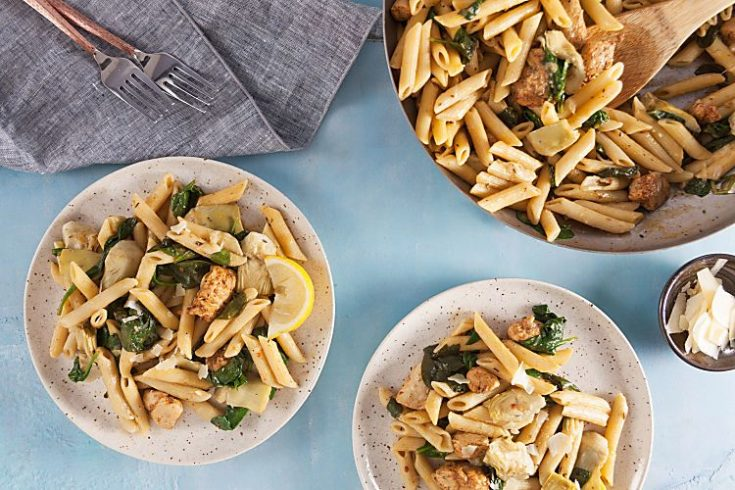 One Pan Cajun Chicken Pasta With Artichokes And Lemon