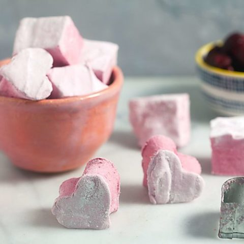 Homemade Raspberry Hibiscus Marshmallows (with corn syrup free option!)